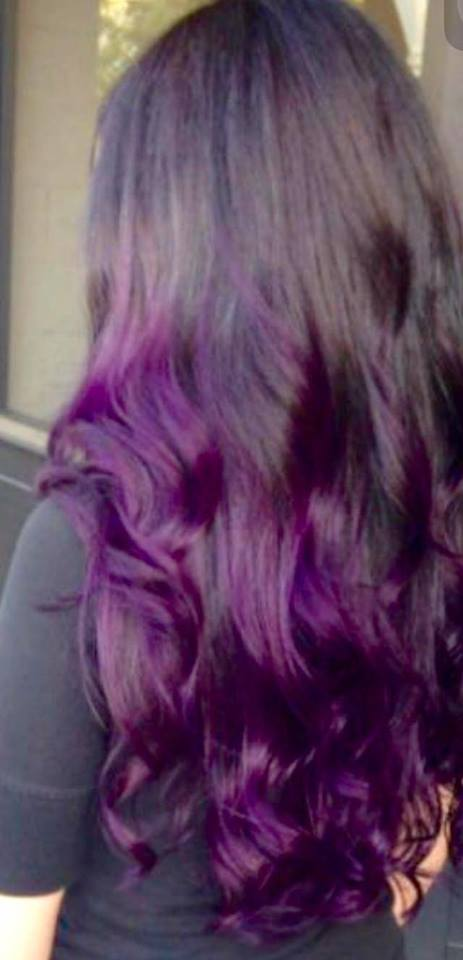Purple hair done by Hair by Parvin