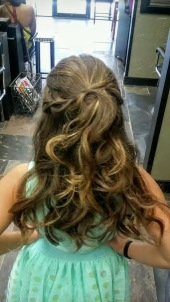 Curls and half updo with braids