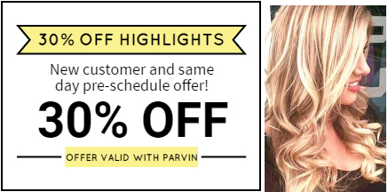 30% off highlights for first time customers