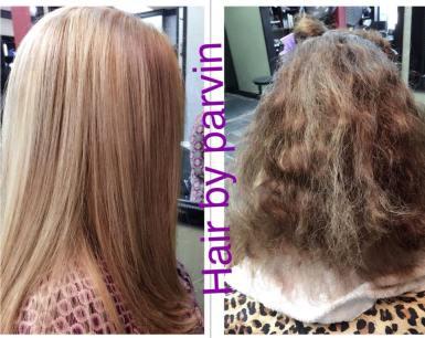 Color, highlights, and keratin hair treatment