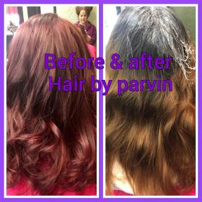 Brown color to red purple transformation