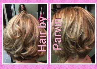 Honey color highlights and haircut