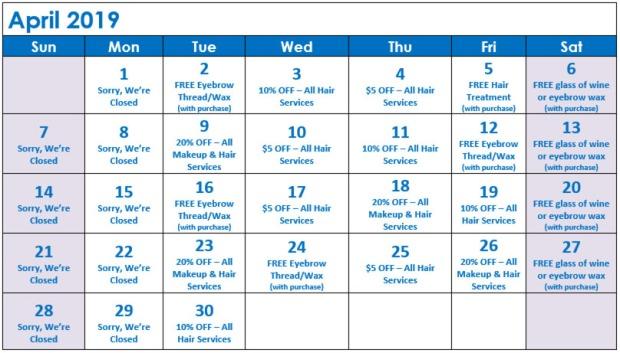 April Specials Calendar