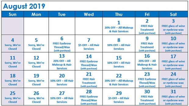 August Specials Calendar