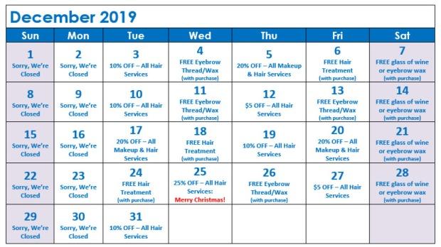 December Specials Calendar