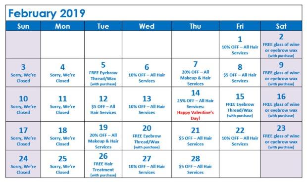 February Specials Calendar