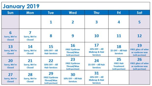 January Specials Calendar