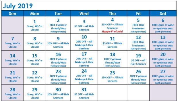 July Specials Calendar