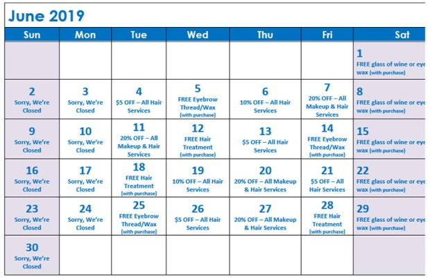 June Specials Calendar