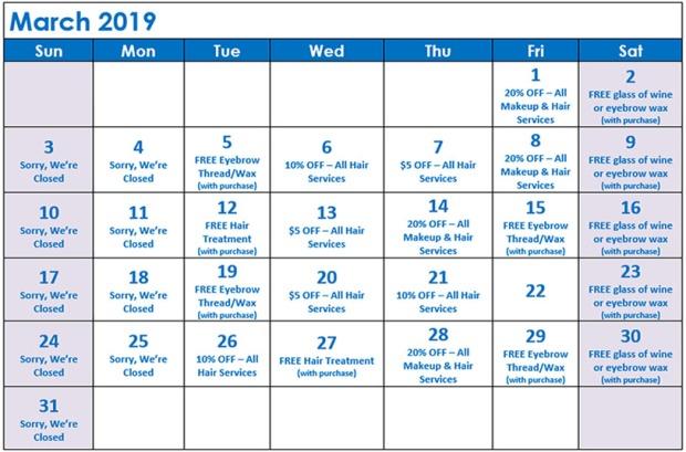 March Specials Calendar