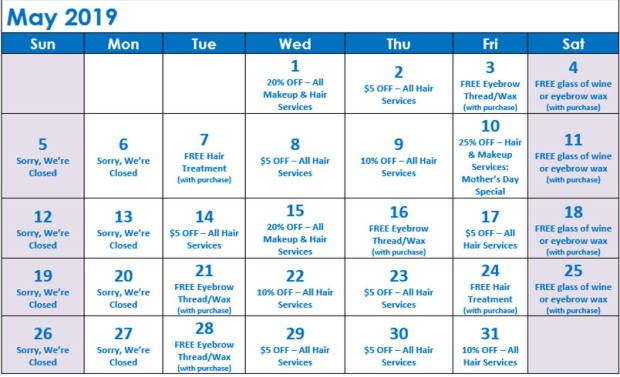 May Specials Calendar