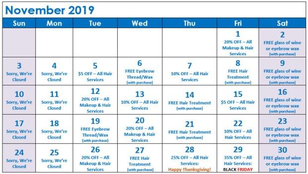 November Specials Calendar