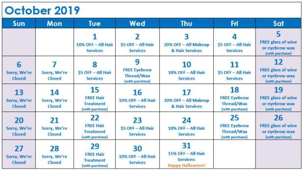 October Specials Calendar