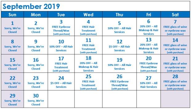 September Specials Calendar