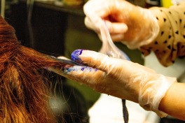 Coloring hair purple and blue