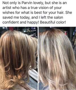 Hair color and cut review for Parvin